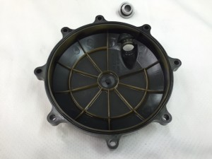 Clutch Cover Gloss Black. Includes OEM chrome mounting bolts, large O-ring and Oil fill cap. $55 shipped.