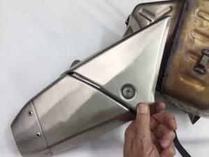 OEM SS Exhaust Trim near outlet